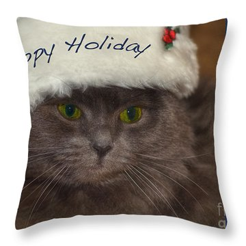 Yankee Cat Throw Pillow by Joann Vitali