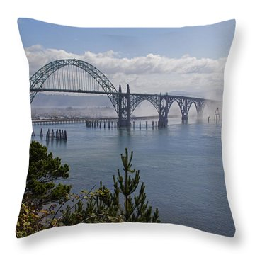 Yaquina Bay Bridge Throw Pillow by Mick Anderson
