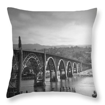Yaquina Bay Bridge Oregon B And W Throw Pillow by Joyce Dickens