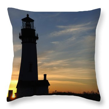 Yaquina Lighthouse Throw Pillow by Bob Christopher
