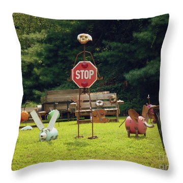 Throw Pillow featuring the photograph Yard Art Stop by Renee Trenholm