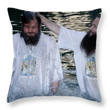 Yardenit Baptismal Site Throw Pillow by Amos Gal