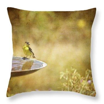 Yellow Bird Upon A Fountain Throw Pillow