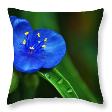 Yellow Blue And Raindrops Throw Pillow