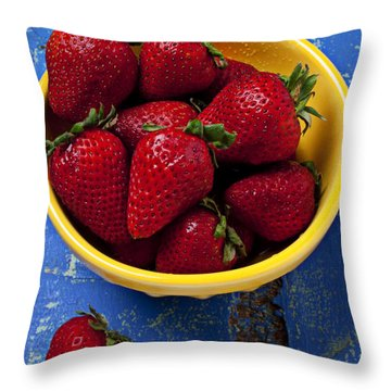 Yellow Bowl Of Strawberries Throw Pillow by Garry Gay