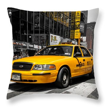 Yellow Cab At The  Times Square Throw Pillow by Hannes Cmarits