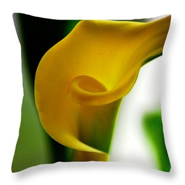 Throw Pillow featuring the photograph Yellow Calla Lilies by Donna Bentley