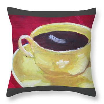 Yellow Cup On Red Throw Pillow by Patricia Cleasby