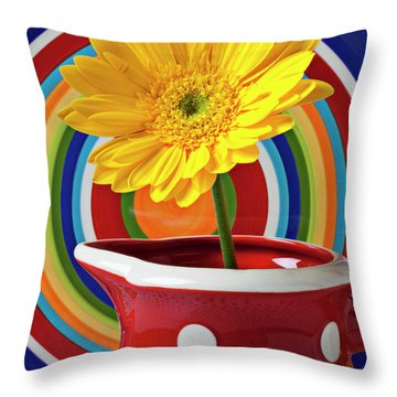Yellow Daisy In Red Pitcher Throw Pillow