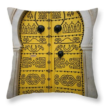 Throw Pillow featuring the photograph Yellow Door In Bardo by Laurel Talabere