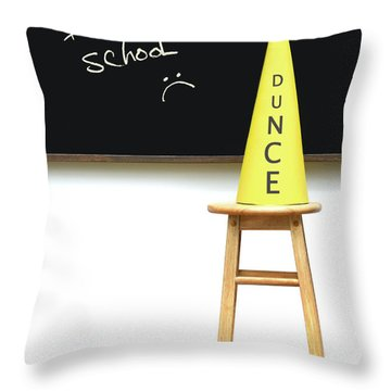 Yellow Dunce Hat On Stool Throw Pillow