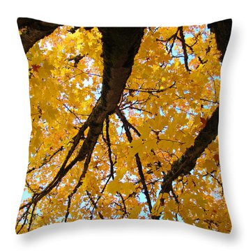 Yellow Fall Trees Prints Autumn Leaves Throw Pillow by Baslee Troutman