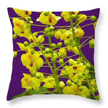 Yellow Flower Throw Pillow by Manuela Constantin