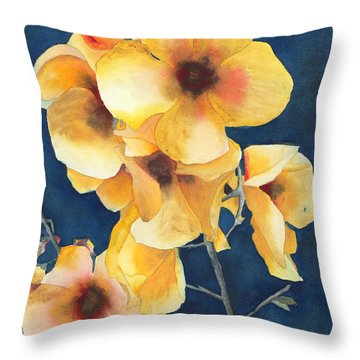 Yellow Flowers Throw Pillow by Ken Powers