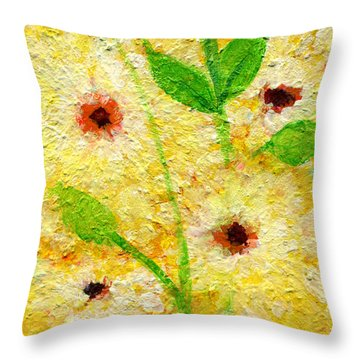 Yellow Flowers Laugh In Joy Throw Pillow by Ashleigh Dyan Bayer