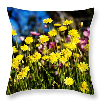 Yellow Flowers Throw Pillow by Yew Kwang
