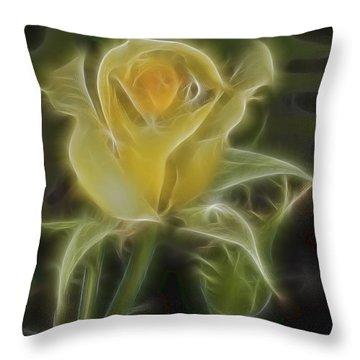 Yellow Fractalius Rose Throw Pillow by Deborah Benoit