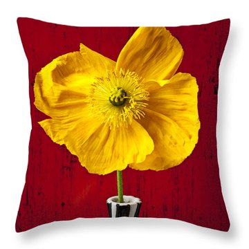 Yellow Iceland Poppy Throw Pillow by Garry Gay