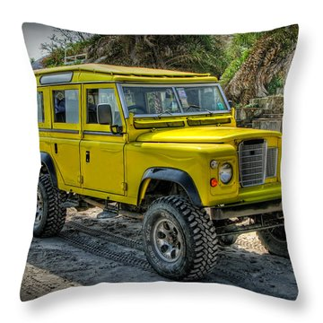 Yellow Jeep Throw Pillow by Adrian Evans