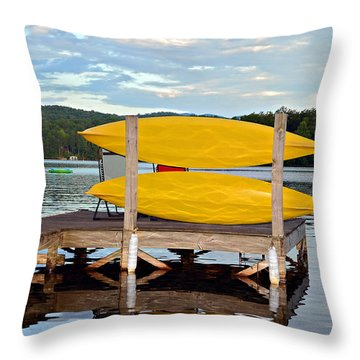 Yellow Kayaks Throw Pillow by Susan Leggett