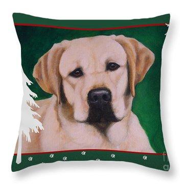 Yellow Labrador Portrait Christmas Throw Pillow