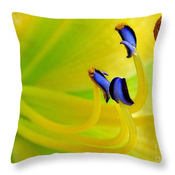 Yellow Lily Throw Pillow by Judi Bagwell