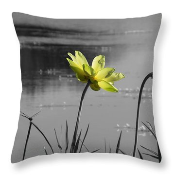 Throw Pillow featuring the photograph Yellow Lotus by Deborah Smith