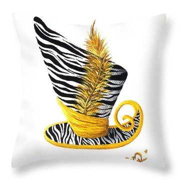 Throw Pillow featuring the painting Yellow Magic Hat by Oddball Art Co by Lizzy Love