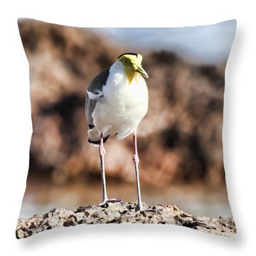 Yellow Mask Throw Pillow by Douglas Barnard
