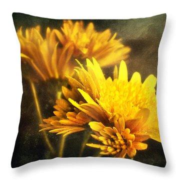 Yellow Mums Throw Pillow by Svetlana Sewell
