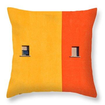 Yellow Orange Blue With Windows Throw Pillow