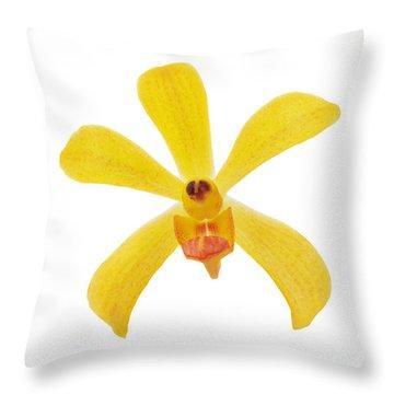 Yellow Orchid Throw Pillow by Atiketta Sangasaeng