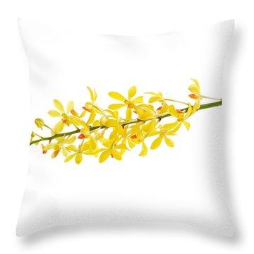 Yellow Orchid Bunch Throw Pillow by Atiketta Sangasaeng