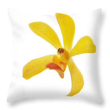 Yellow Orchid Head Throw Pillow by Atiketta Sangasaeng