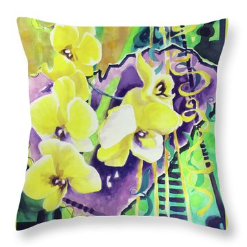 Yellow Orchids Of The Heart Throw Pillow by Kathy Braud