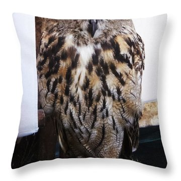 Yellow Owl Eyes Throw Pillow