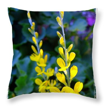 Yellow Plumes Throw Pillow by Judi Bagwell