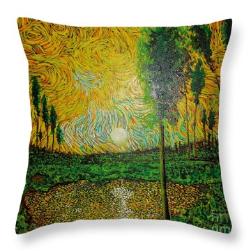 Yellow Pond Throw Pillow