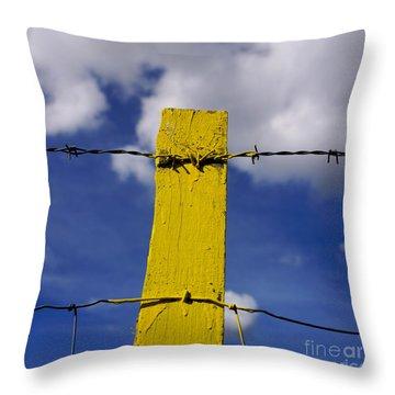 Yellow Post Throw Pillow by Bernard Jaubert