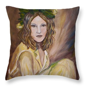 Throw Pillow featuring the painting Yellow Rose by Julie Brugh Riffey