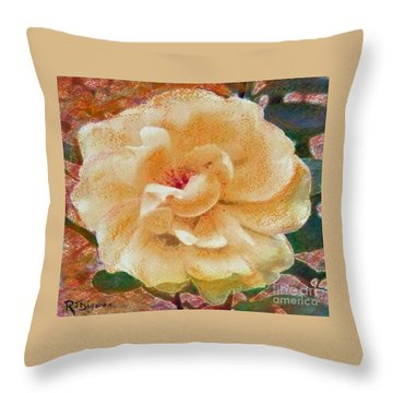 Yellow Rose Throw Pillow by Richard James Digance