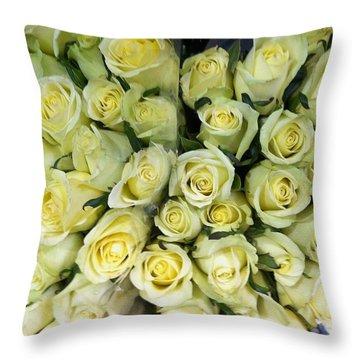 Yellow Roses Throw Pillow by Anna Villarreal Garbis