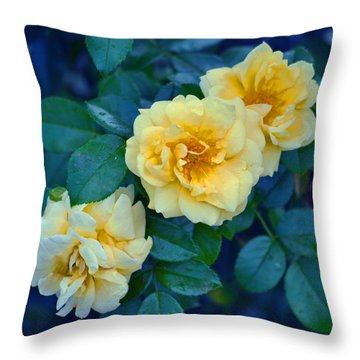 Throw Pillow featuring the photograph Yellow Roses by Rodney Campbell