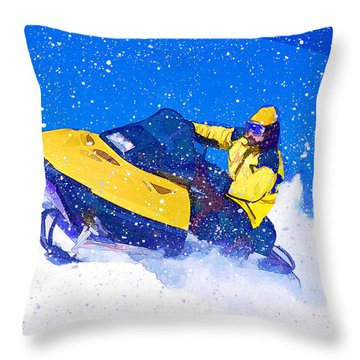 Yellow Snowmobile In Blizzard Throw Pillow by Elaine Plesser