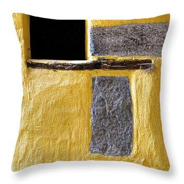 Yellow Stone Wall Throw Pillow by Joana Kruse