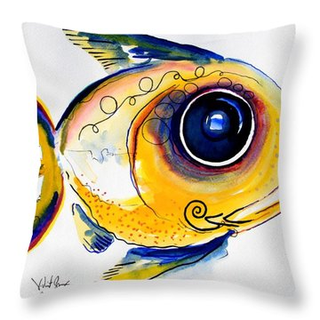 Yellow Study Fish Throw Pillow