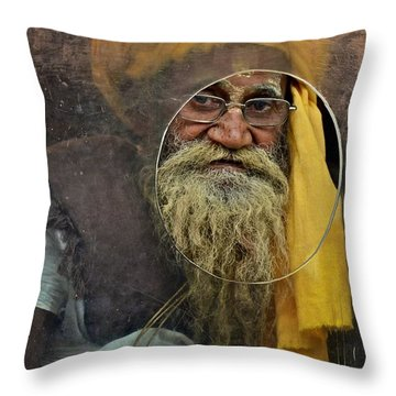 Yellow Turban At The Window Throw Pillow by Valerie Rosen