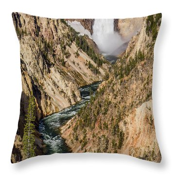 Yellowstone Falls From Artists Point Throw Pillow by Greg Nyquist