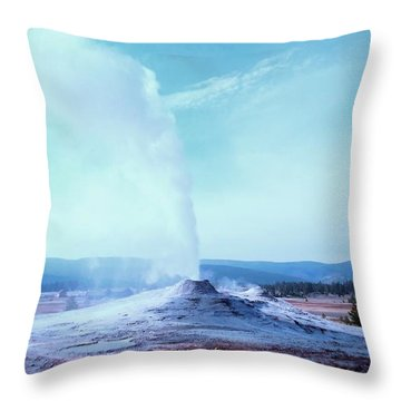 Throw Pillow featuring the photograph Yellowstone Geyser by Ann Johndro-Collins