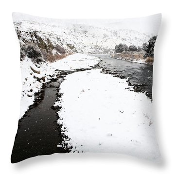 Yellowstone Park Wyoming Winter Snow Soda Butte Creek Throw Pillow by Mark Duffy